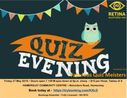 Quiz Night happening Friday 27 May from 7pm